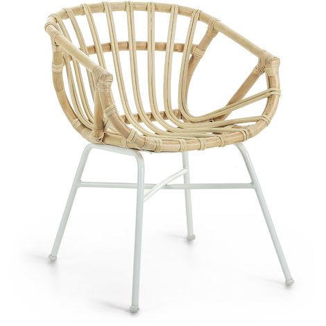 Kave Home - Chaise de salle à manger Kaly en rotin avec accoudoirs et pieds en acier blanc