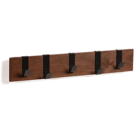 Kave Home - Colgador de pared Mahdis contrachapado en madera de nogal y con 5 colgadores de metal en negro