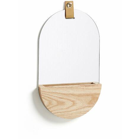 Kave Home - Espejo de pared Brant ovalado 38 x 23 cm con de madera de fresno y colgador de piel marrón con estante