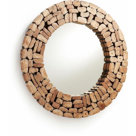 Kave Home - Espejo de pared Eliptic redondo Ø 80 cm de madera de teca reciclada