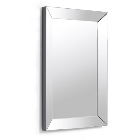 Kave Home - Espejo de pared Lena rectangular 90 x 60 cm con marco de cristal