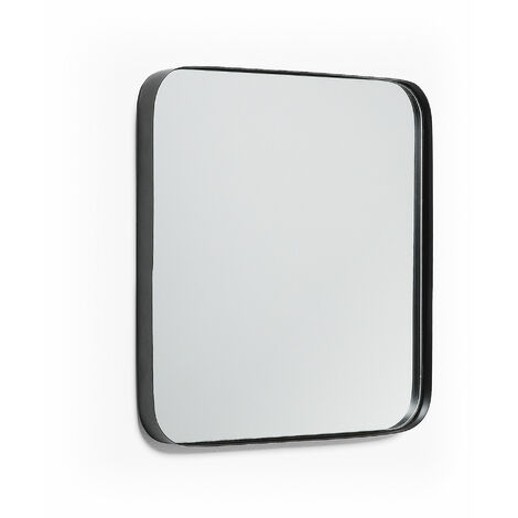 Kave Home - Espejo de pared Marco negro cuadrado 40 x 40 cm de acero