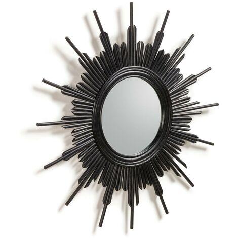 Kave Home - Espejo de pared Marelli negro redondo Ø 70 cm de ratán en forma de sol