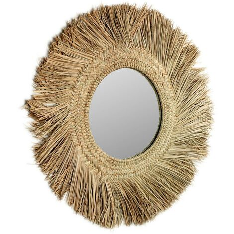 Kave Home - Espejo de pared Rumer redondo Ø 72 cm de fibras naturales
