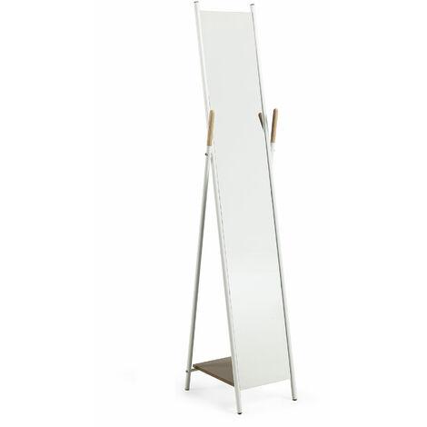 Kave Home - Espejo de pie Cheryl blanco rectangular 33 x 159 cm de acero y MDF