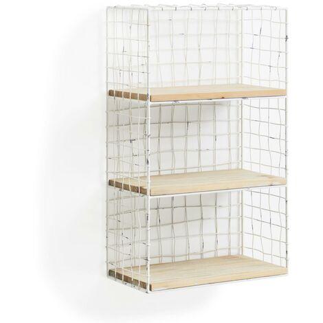 Kave Home - Estantería de pared Deland rectangular 50 x 30 cm de rejilla de metal en blanco con 3 estantes de madera de abeto