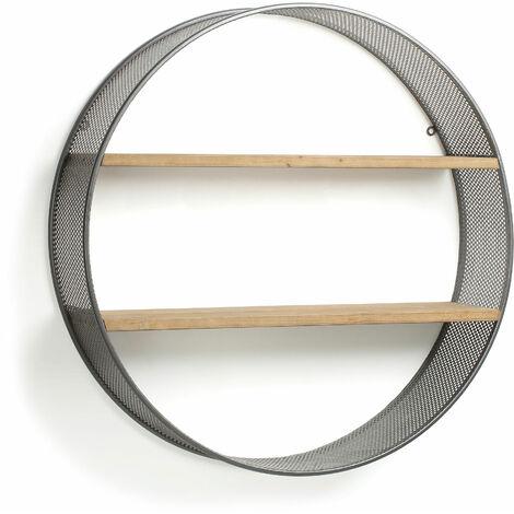 Kave Home - Estantería de pared Halie redonda Ø 80 cm de madera maciza de abeto y estructura de acero en negro