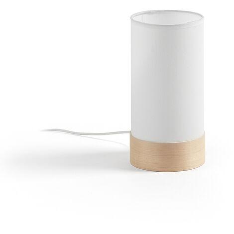 Kave Home - Lámpara de sobremesa Slat blanca de algodón y madera de haya