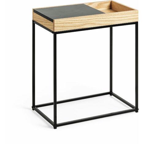 Kave Home - Mesa auxiliar Detail rectangular 50 x 30 cm con sobre deslizante chapado en roble y estructura de acero en negro