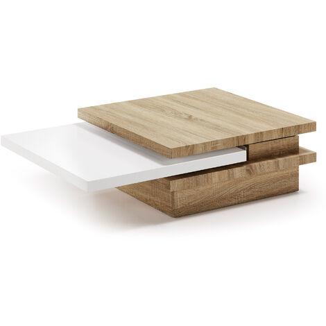 Kave Home - Mesa de centro extensible Kiu 70 (106) x 70 cm de madera