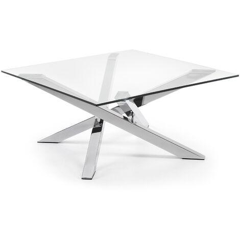 Kave Home - Mesa de centro Kamido transparente cuadrada 90 x 90 cm de cristal transparente y patas de acero cromado