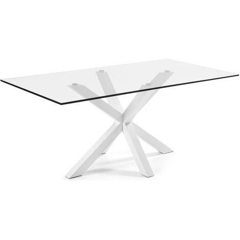 Kave Home - Mesa de comedor Argo rectangular 200 x 100 cm de cristal y patas de acero en blanco