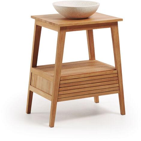 Kave Home - Mueble de baño con lavabo encimera Kuveni de madera maciza de teca 70 x 91 cm