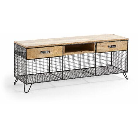 Kave Home - Mueble TV Aida 120,5 x 46 cm con sobre y cajones de madera de mango y estructura de acero en negro