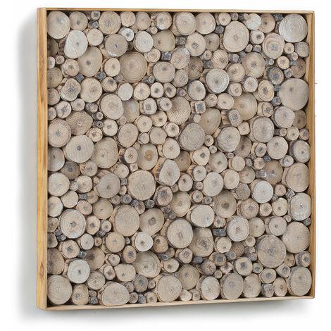 Kave Home - Panel mural Johari cuadrado 49 x 49 cm de madera de teca