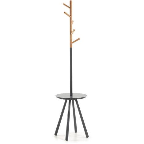 Kave Home - Perchero de pie Nerb natural y gris 170 cm de madera de caucho con bandeja