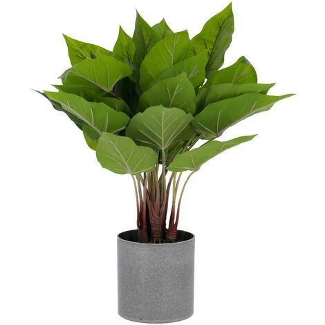 Kave Home - Planta artificial Anthurium con maceta de cemento 50 cm