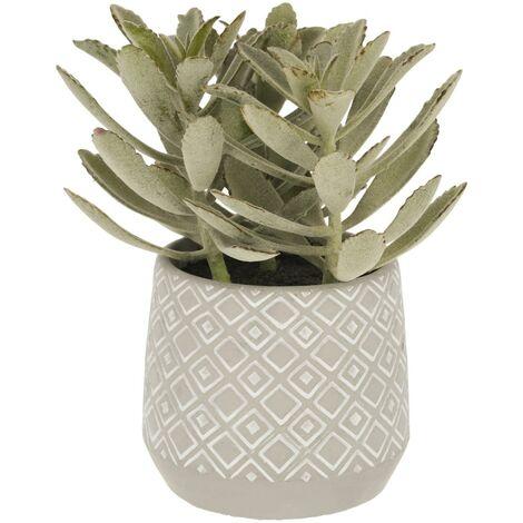 Kave Home - Planta artificial Kalanchoe tomentosa con maceta de cemento blanco y gris 23 cm