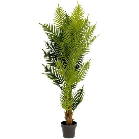 Kave Home - Planta artificial Palmera de helecho con maceta negro 150 cm