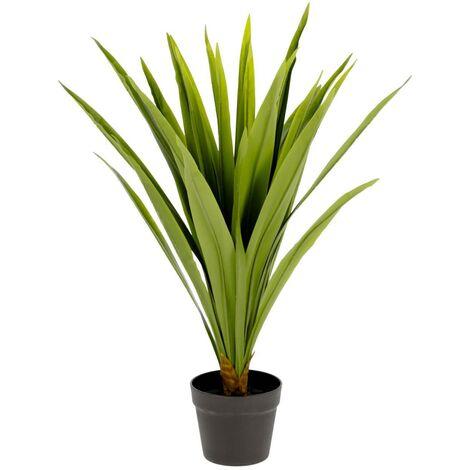 Kave Home - Planta artificial Yucca con maceta negro 80 cm