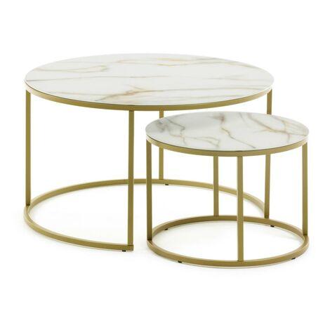 """main image of """"Kave Home - Set de 2 tables d'appoint Leonor Ø 80 cm / Ø 50 cm"""""""