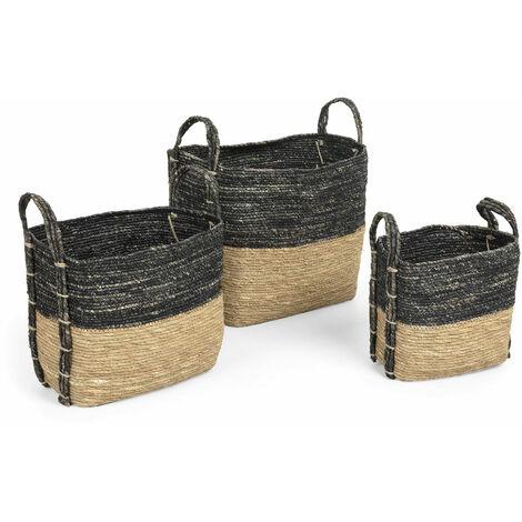 Kave Home - Set de 3 cestas Kysna gris oscuro y marrón de hoja de maíz trenzadas a mano