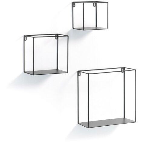 Kave Home - Set de 3 estantes de pared Nils cuadrados 30 x 30 / 20 x 20 / 15 x 15 cm de acero en negro