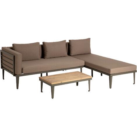 Kave Home - Set de sofá Viridis con sofá de 2 plazas, chaise longue y mesa auxiliar 90 x 50 cm de cojines marrones, alumino y madera maciza de acacia para interior y exterior