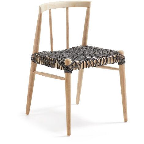 Kave Home - Silla de comedor Dreaming de madera de teca y cuerda para interior y exterior