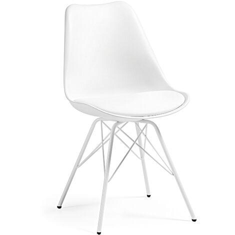 Kave Home - Silla de comedor Ralf blanca con asiento acolchado y patas de acero en blanco