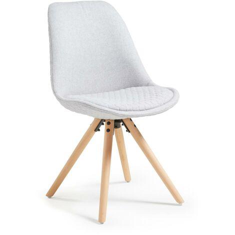 Kave Home - Silla de comedor Ralf gris claro con asiento acolchado y patas de madera maciza de haya