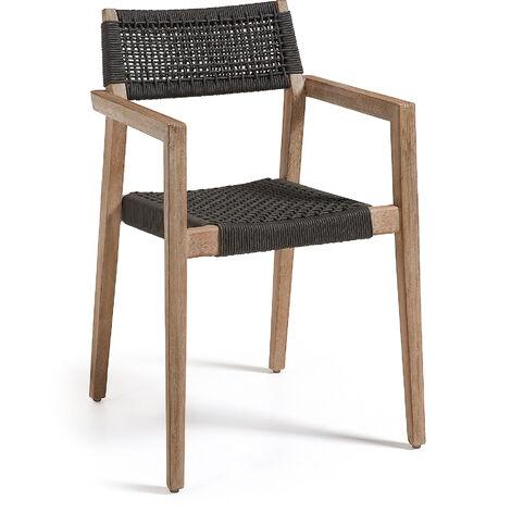 Kave Home - Silla de comedor Vetter con reposabrazos y estructura de madera de eucalipto y cuerda de poliéster gris oscuro para interior y exterior