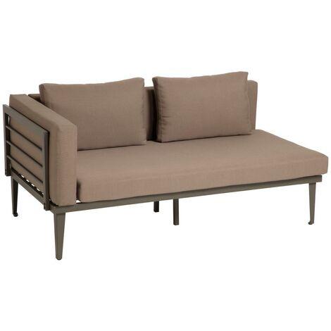 Kave Home - Sofá de 2 plazas Sumie de aluminio con cojines marrones para el exterior