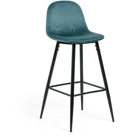 Kave Home - Tabouret de bar Nolite velours turquoise hauteur 75 cm