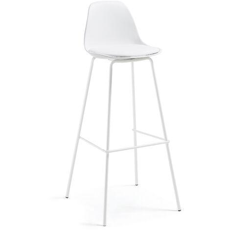 Kave Home - Taburete alto de bar Brighter blanco 75 cm con respaldo, asiento tapizado en piel sintética y patas de acero en blanco