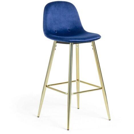 """main image of """"Kave Home - Taburete alto de bar Nolite azul 75 cm con respaldo, tapizado en terciopelo y patas de acero en dorado"""""""
