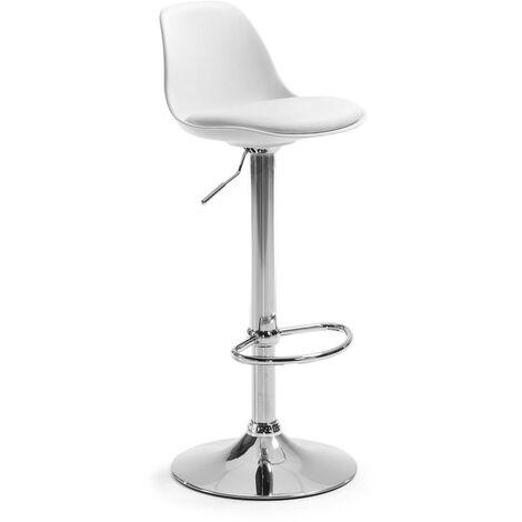 Kave Home - Taburete alto de bar Orlando-T blanco de altura regulable 60-82 cm con respaldo, asiento tapizado en piel sintética y pie de acero