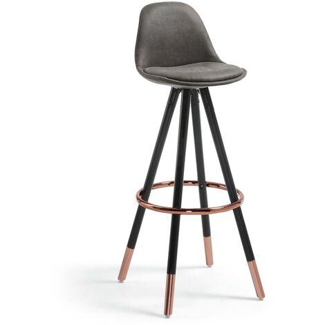 Kave Home - Taburete alto de bar Slad gris 74 cm con respaldo, asiento tapizado en piel sintética y patas de madera maciza de haya