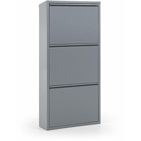 Kave Home - Zapatero Ode gris de acero con 3 compartimentos para 9 pares de zapatos