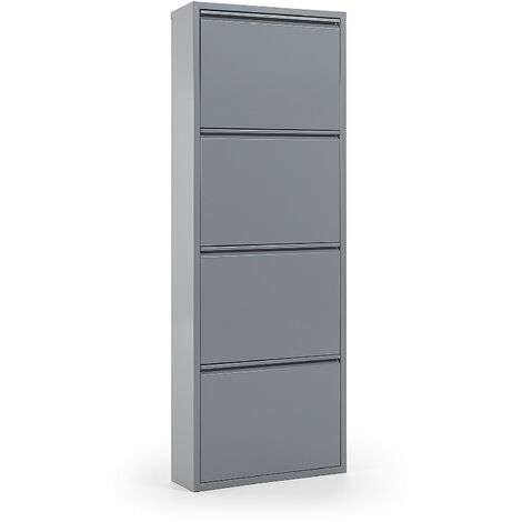 Kave Home - Zapatero Ode gris de acero con 4 compartimentos para 12 pares de zapatos