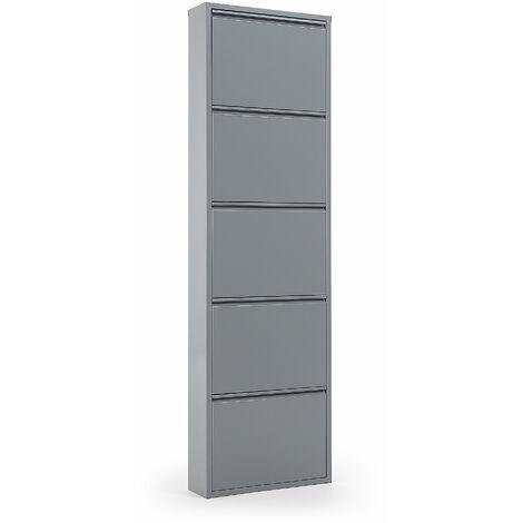 Kave Home - Zapatero Ode gris de acero con 5 compartimentos para 15 pares de zapatos