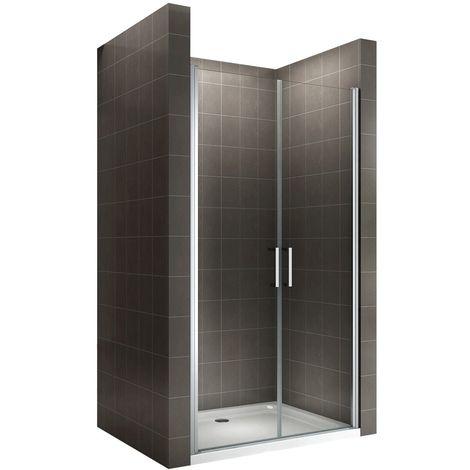 KAYA Porte de douche H 195 largeur réglable 68-71 cm opaque