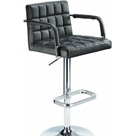 Kaybon Black Retro Bar Stool Height Adjustable Padded Seat And Arms Black PVC Metal Black 58 - 84 cm Chrome