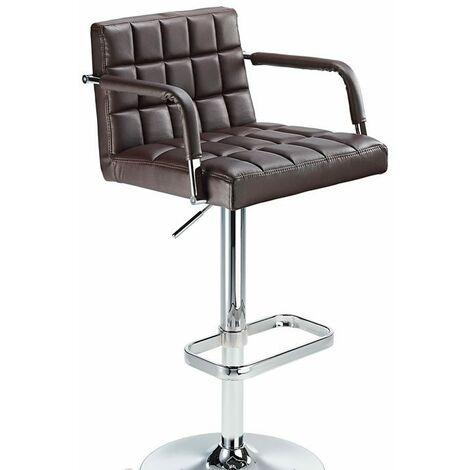 Kaybon Brown Retro Bar Stool Height Adjustable Padded Seat And Arms