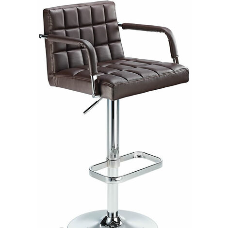 Kaybon Brown Retro Bar Stool Height Adjustable Padded Seat And Arms Brown PVC Metal Brown 58 - 84 cm Chrome