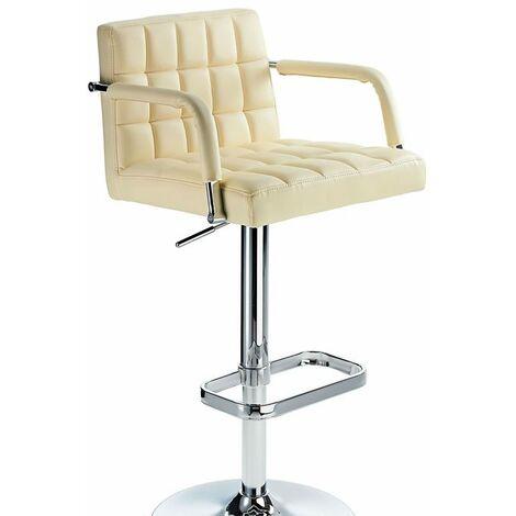 Kaybon Cream Retro Bar Stool Height Adjustable Padded Seat And Arms Cream PVC Metal Cream 58 - 84 cm Chrome