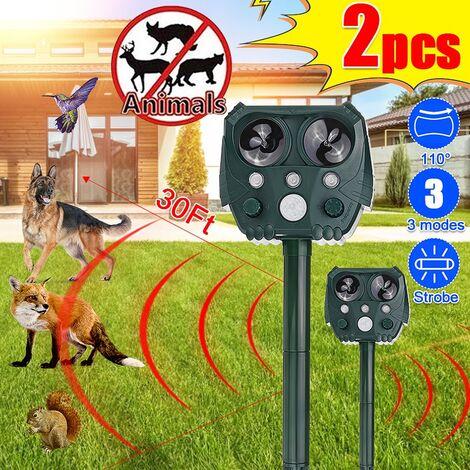 KCASA KC-JK550 Répulsif ultrasonique pour animaux et parasites à 5 modes Répulsif antiparasitaire extérieur à énergie solaire, activé par le mouvement avec lampe de poche à énergie solaire et