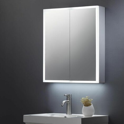 Keenware KBM-104 LED Bathroom Mirror Cabinet With Shaver Socket; 600x700mm