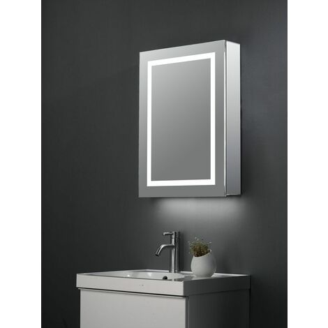 Keenware KBM-304 LED Bathroom Mirror Cabinet With Shaver Socket, Bluetooth Speakers & Internal Pull Out Shaver/Make Up Mirror; 700x500mm
