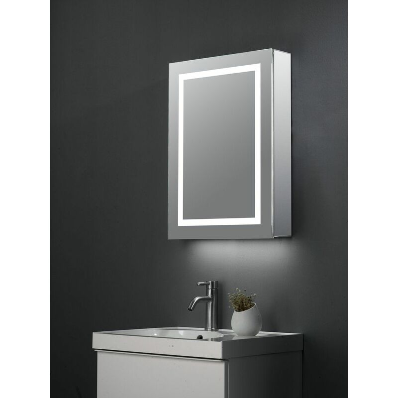 Image of KBM-304 LED Bathroom Mirror Cabinet With Shaver Socket, Bluetooth Speakers & Internal Pull Out Shaver/Make Up Mirror; 700x500mm - Keenware
